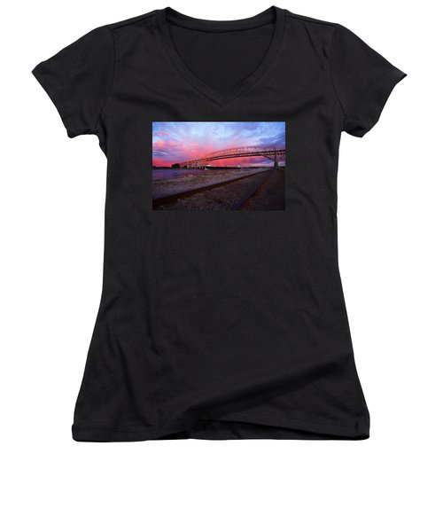Women's V-Neck T-Shirt (Junior Cut) featuring the photograph Pink And Blue by Gordon Dean II