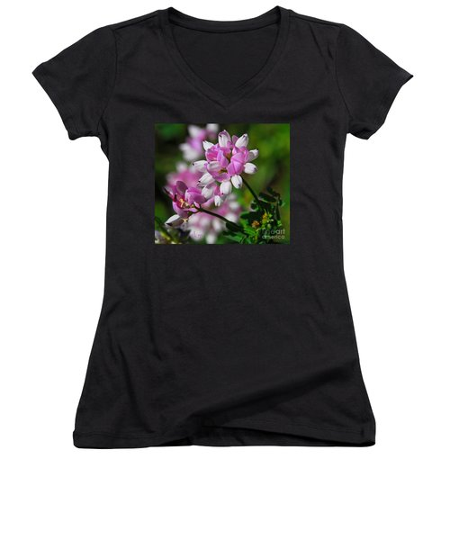 Women's V-Neck T-Shirt (Junior Cut) featuring the photograph Pink And White by Cindy Manero