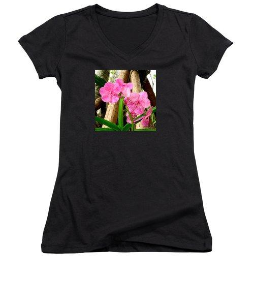 Pink Hawaiian Orchid Women's V-Neck T-Shirt
