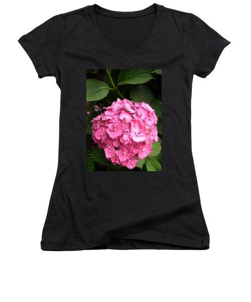 Women's V-Neck T-Shirt (Junior Cut) featuring the digital art Pink Hydranga by Claude McCoy