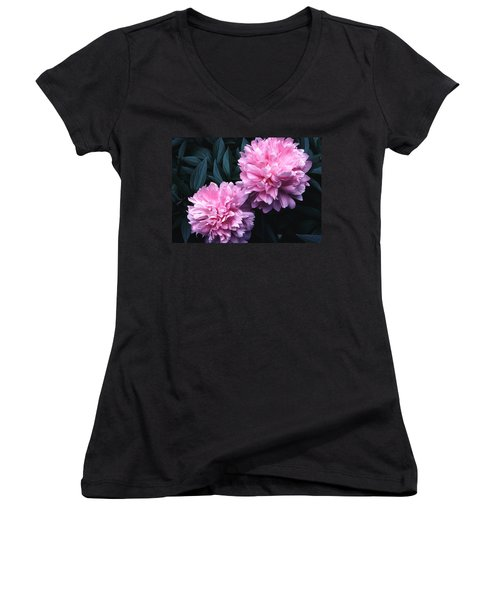Women's V-Neck T-Shirt (Junior Cut) featuring the photograph Pink Peony Pair by Tom Wurl
