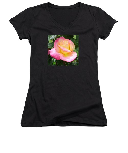 Women's V-Neck T-Shirt (Junior Cut) featuring the photograph Pink Yellow Beauty by Tanya  Searcy