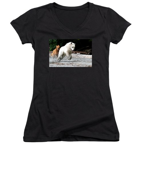 Play Time On The Beach Women's V-Neck (Athletic Fit)