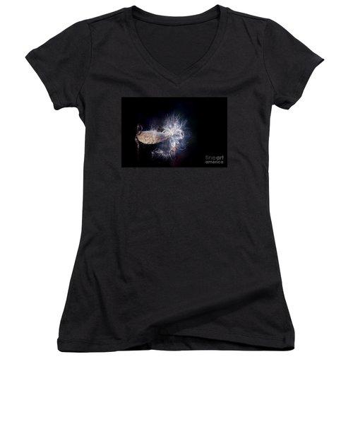 Women's V-Neck T-Shirt (Junior Cut) featuring the photograph Pod In The Wind by Deniece Platt