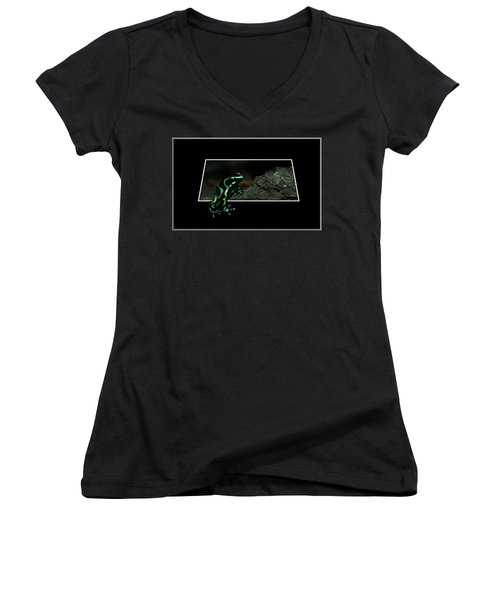Poisonous Green Frog 02 Women's V-Neck T-Shirt (Junior Cut) by Thomas Woolworth
