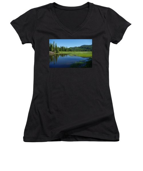 Pond Reflection Women's V-Neck T-Shirt (Junior Cut) by Marilyn Wilson