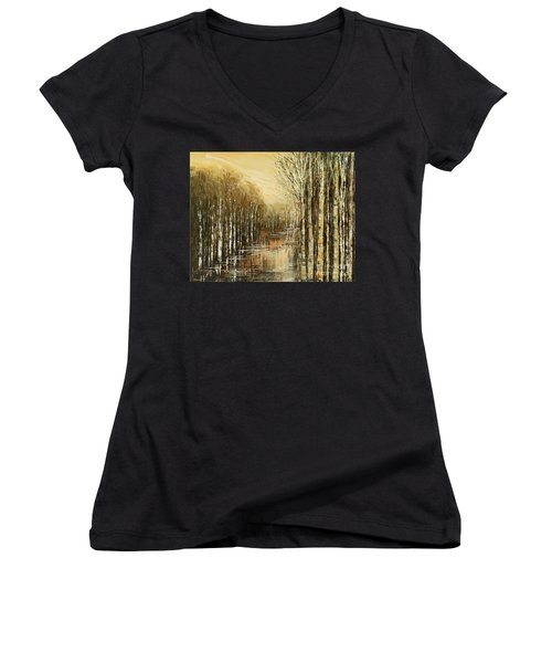 Women's V-Neck T-Shirt (Junior Cut) featuring the painting Pond Security by Tatiana Iliina