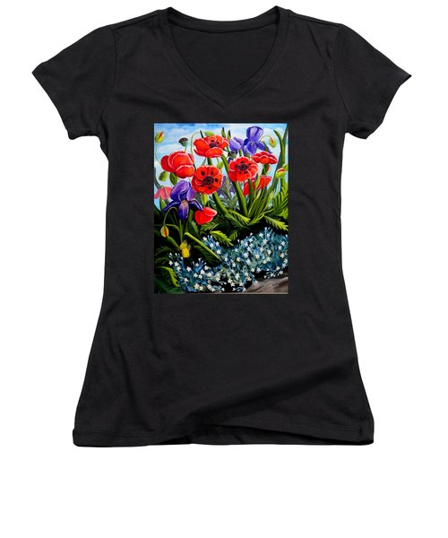 Poppies And Irises Women's V-Neck T-Shirt (Junior Cut) by Renate Nadi Wesley