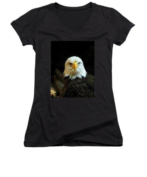 Women's V-Neck T-Shirt (Junior Cut) featuring the photograph Portrait American Bald Eagle by Randall Branham