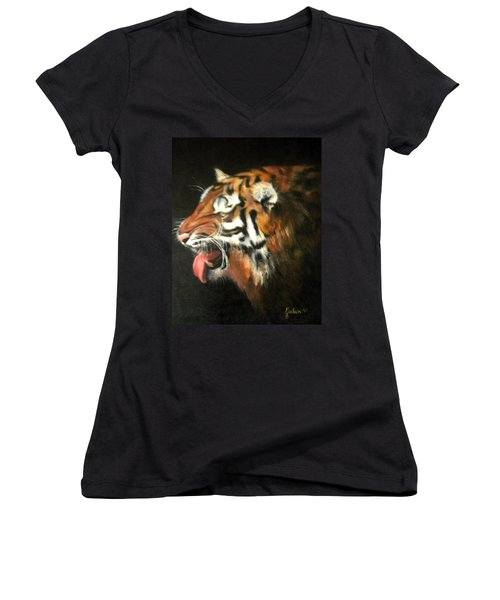 Portrait Women's V-Neck T-Shirt (Junior Cut) by Jordana Sands