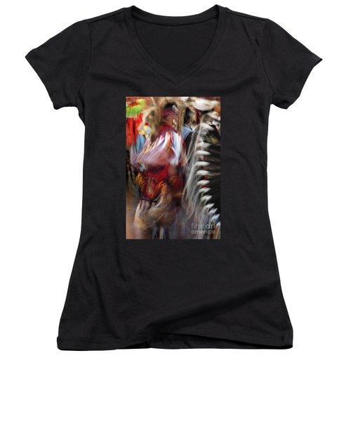 Pow Wow Dancer Women's V-Neck T-Shirt (Junior Cut) by Vivian Christopher