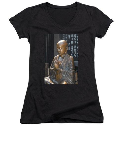 Praying Buddha Women's V-Neck (Athletic Fit)