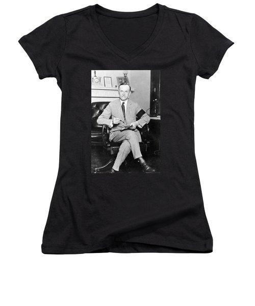 President Calvin Coolidge Women's V-Neck (Athletic Fit)