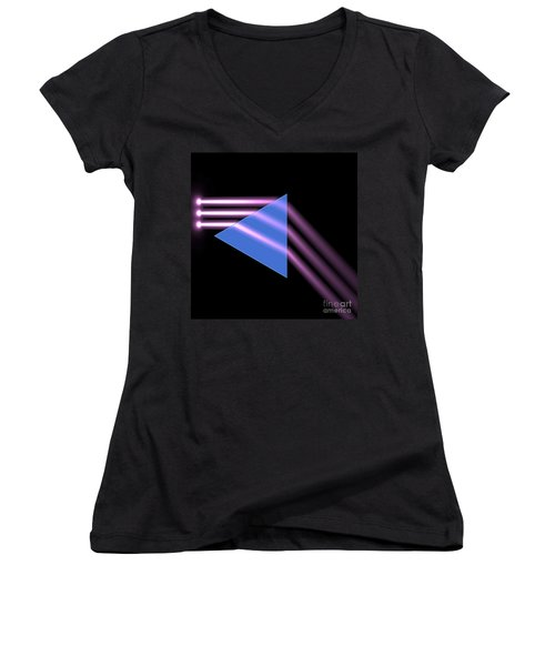 Women's V-Neck T-Shirt (Junior Cut) featuring the digital art Prism 1 by Russell Kightley