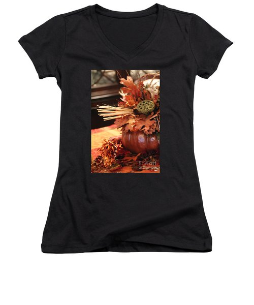 Pumpkin Leaf Decor Women's V-Neck