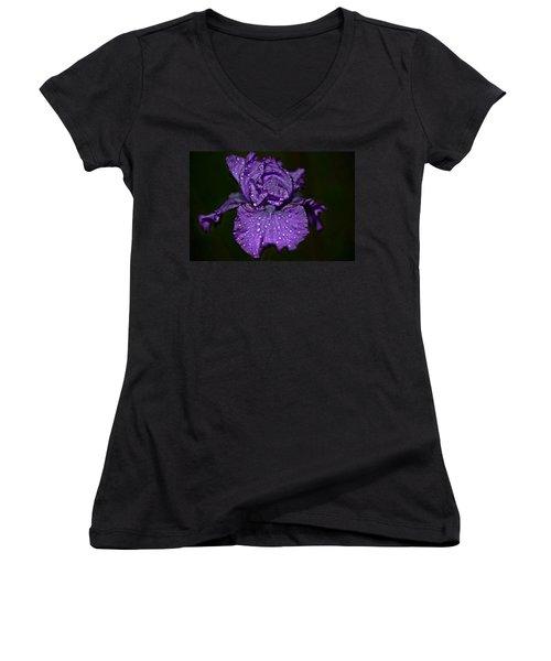 Purple Iris With Water Drops Women's V-Neck