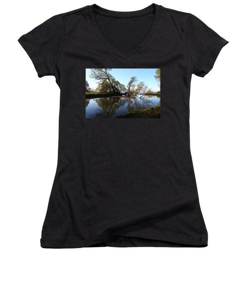Quiet Reflection Women's V-Neck T-Shirt (Junior Cut) by Davandra Cribbie