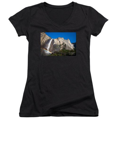 Rainbow On Bridalveil Fall Women's V-Neck (Athletic Fit)