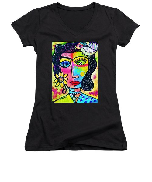 Rainbow Sunshine Frida Women's V-Neck (Athletic Fit)