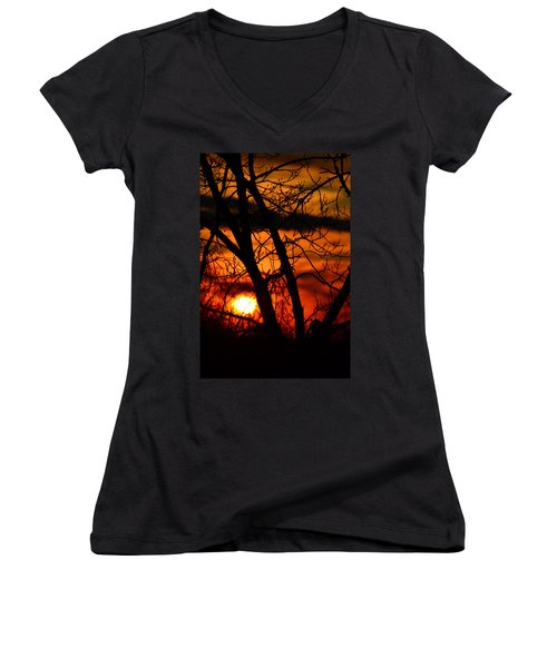 Red And Gold Women's V-Neck T-Shirt