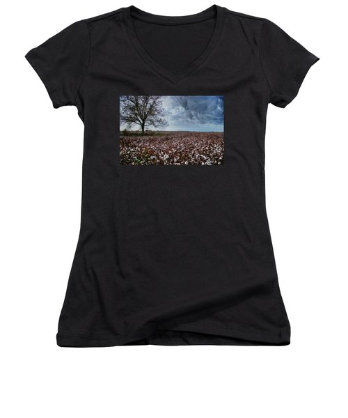 Red Cotton And The Tree Women's V-Neck T-Shirt (Junior Cut)