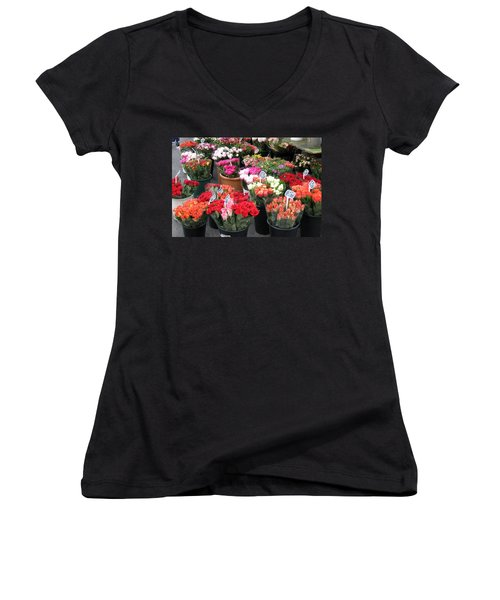 Women's V-Neck T-Shirt (Junior Cut) featuring the photograph Red Flowers In French Flower Market by Carla Parris