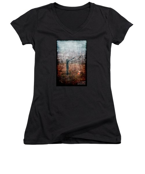 Women's V-Neck T-Shirt (Junior Cut) featuring the photograph Red Fox Under Tree by Dan Friend