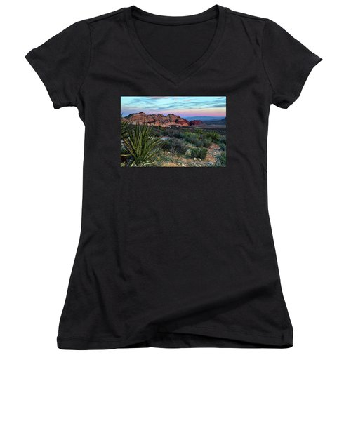 Red Rock Sunset II Women's V-Neck (Athletic Fit)
