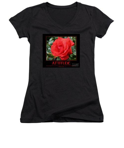 Red Rose Attitude Women's V-Neck