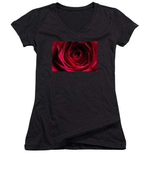 Women's V-Neck T-Shirt (Junior Cut) featuring the photograph Red Rose by Matt Malloy