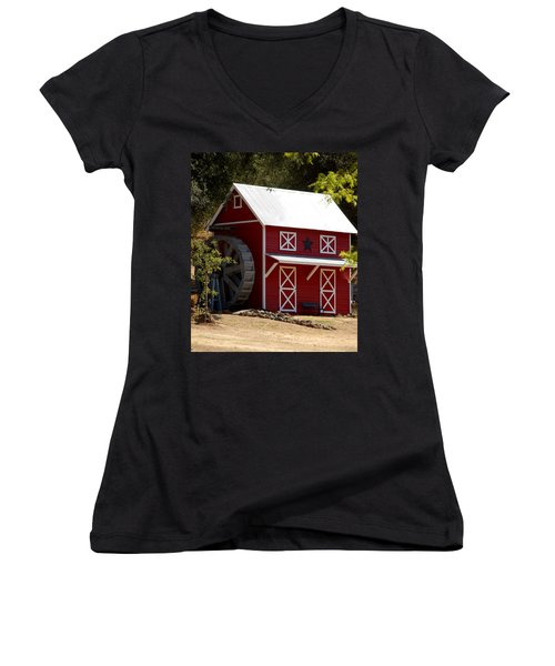 Red Star Barn Women's V-Neck T-Shirt (Junior Cut) by Holly Blunkall