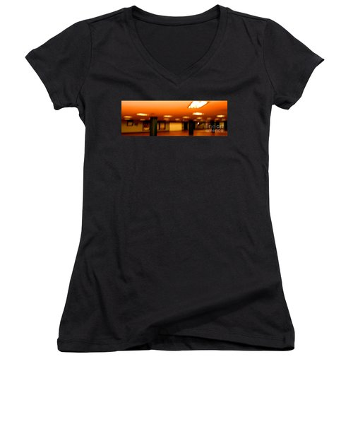 Women's V-Neck T-Shirt (Junior Cut) featuring the photograph Red Subway by Andy Prendy