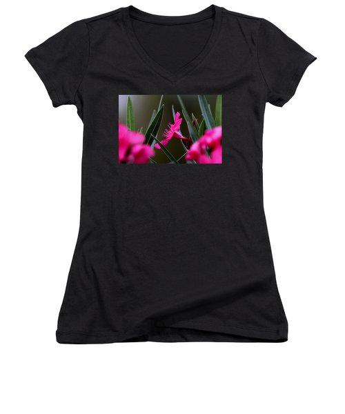Red Flower Women's V-Neck T-Shirt (Junior Cut) by Travis Truelove