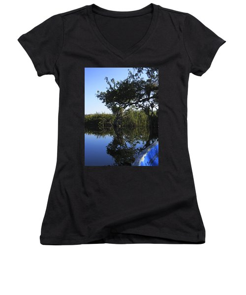 Women's V-Neck T-Shirt (Junior Cut) featuring the photograph Reflection Of Arched Branches by Anne Mott