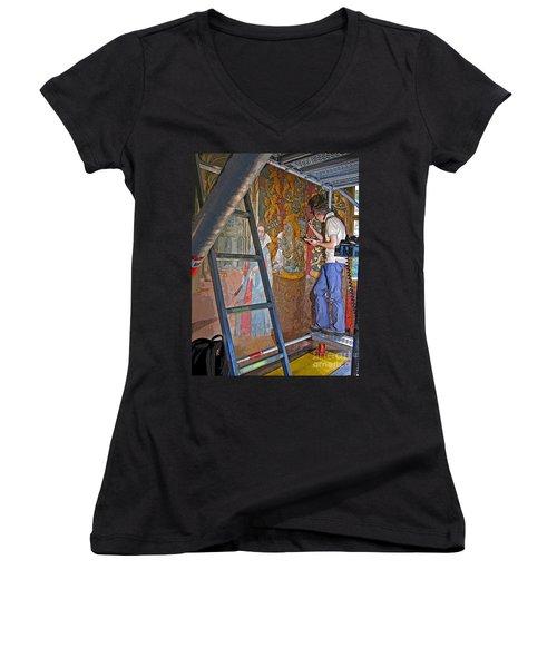 Women's V-Neck T-Shirt (Junior Cut) featuring the photograph Restoring Art by Ann Horn