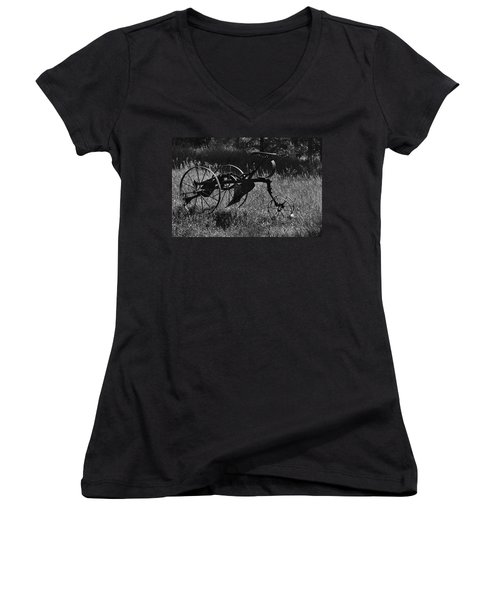 Women's V-Neck featuring the photograph Retired Farmer by Ron Cline