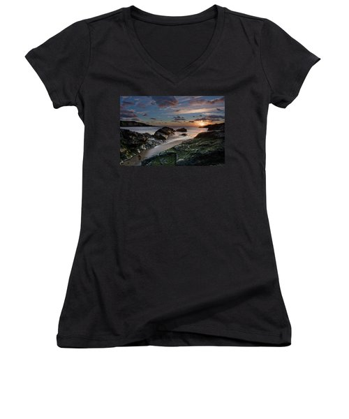 Women's V-Neck T-Shirt (Junior Cut) featuring the photograph Rhosneigr Sunset  by Beverly Cash