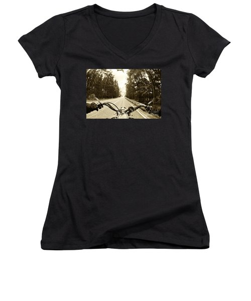 Riders Eye Veiw In Sepia Women's V-Neck T-Shirt (Junior Cut) by Micah May