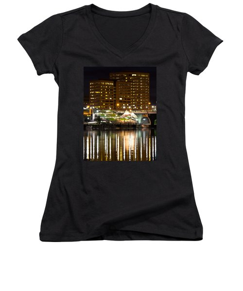 River Front At Night Women's V-Neck