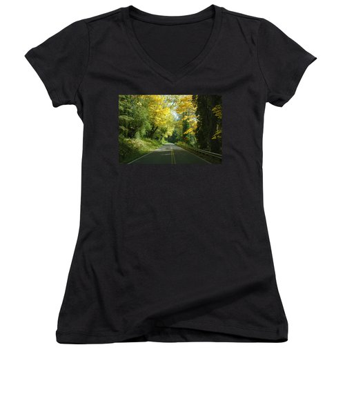 Road Through Autumn Women's V-Neck (Athletic Fit)