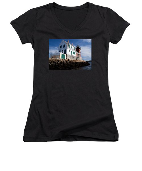 Rockland Breakwater Lighthouse Women's V-Neck