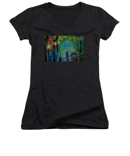 Romantic Stroll Series 1 Women's V-Neck T-Shirt (Junior Cut) by Leslie Allen