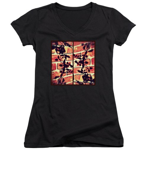 Rose Leaves - Shadow On Brick Women's V-Neck
