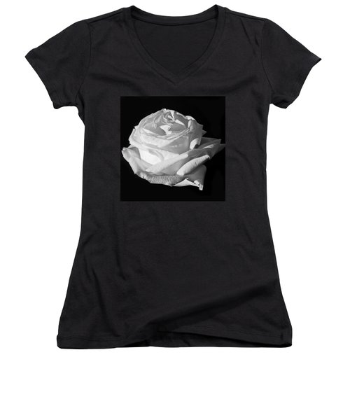 Women's V-Neck T-Shirt (Junior Cut) featuring the photograph Rose Silver Anniversary Monochrome by Steve Purnell