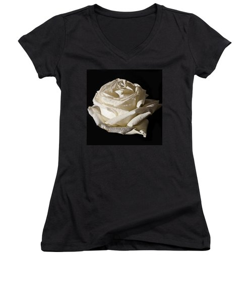 Women's V-Neck T-Shirt (Junior Cut) featuring the photograph Rose Silver Anniversary by Steve Purnell