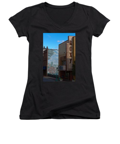 Roxy Theater And Mural Women's V-Neck