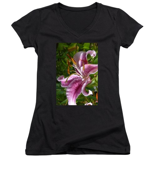 Women's V-Neck T-Shirt (Junior Cut) featuring the photograph Rubrum Lily by Carla Parris