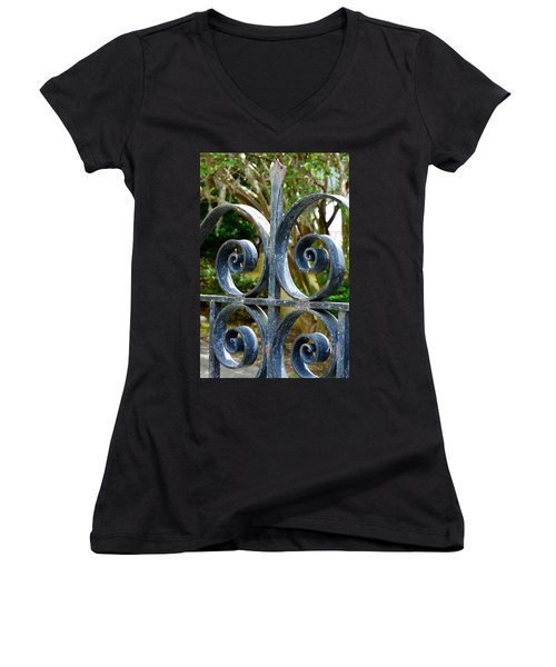 Rusted Charleston Ironwork Women's V-Neck T-Shirt