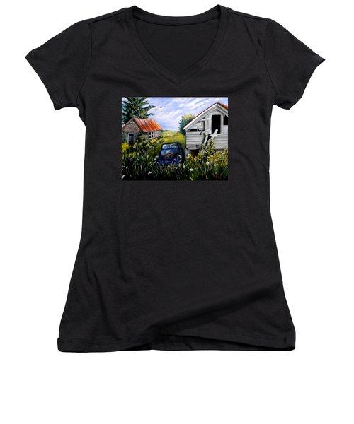 Rustic Partners Women's V-Neck T-Shirt (Junior Cut) by Renate Nadi Wesley