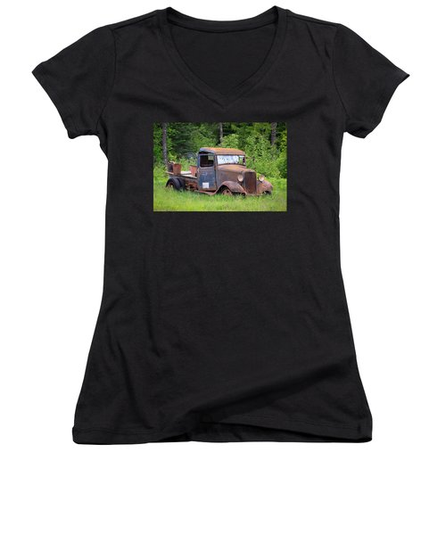 Women's V-Neck T-Shirt (Junior Cut) featuring the photograph Rusty Chevy by Steve McKinzie